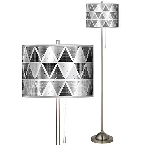 Pointillism Silver Metallic Giclee Brushed Nickel Floor Lamp