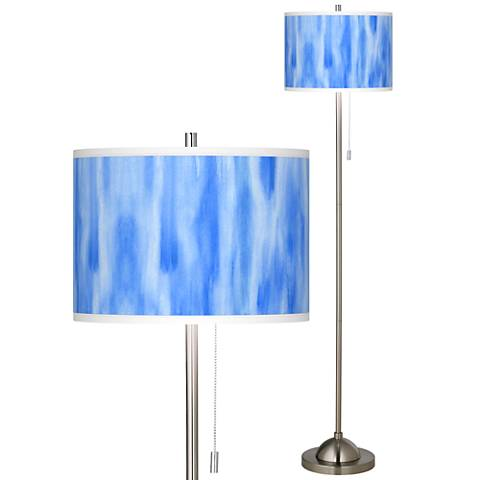 Blue Tide Brushed Nickel Pull Chain Floor Lamp
