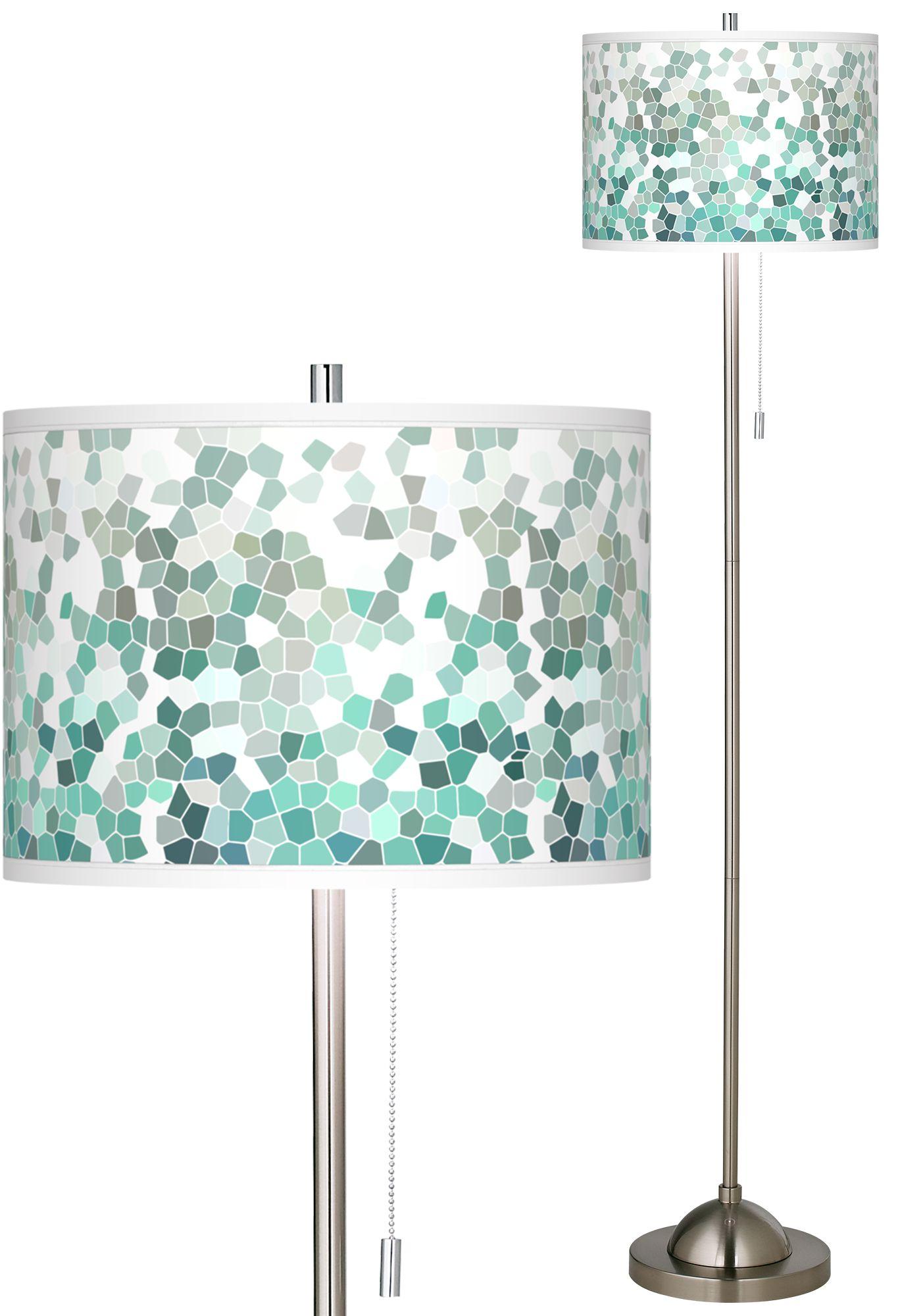 Captivating Aqua Mosaic Brushed Nickel Pull Chain Floor Lamp