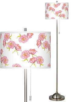 Pink chrome floor lamps lamps plus pretty peonies brushed nickel pull chain floor lamp mozeypictures Images
