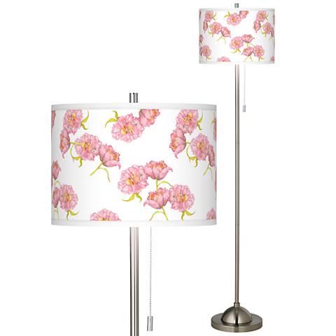 Pretty Peonies Brushed Nickel Pull Chain Floor Lamp