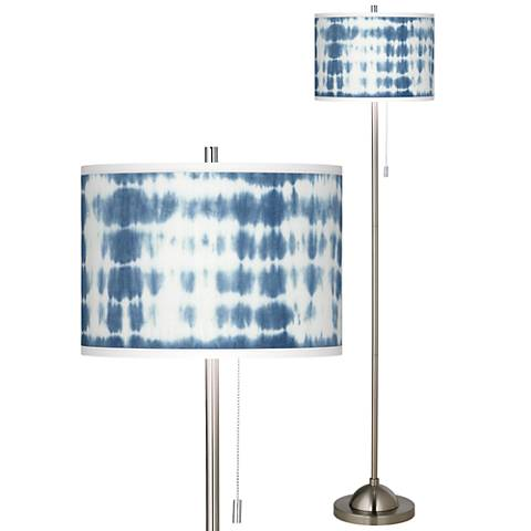 Shibori Surf Brushed Nickel Pull Chain Floor Lamp