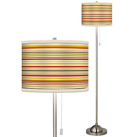 Stacy Garcia Lemongrass Stripe Giclee Brushed Steel Floor Lamp