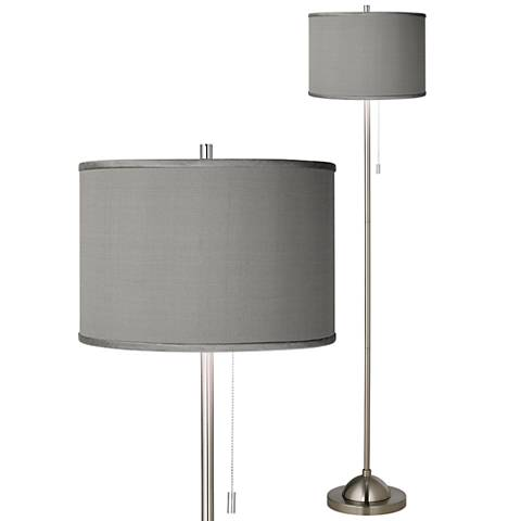 Gray Faux Silk Brushed Nickel Pull Chain Floor Lamp