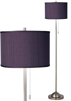 Purple floor lamps lamps plus eggplant faux silk brushed nickel pull chain floor lamp mozeypictures Gallery