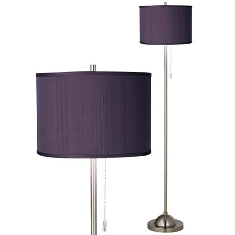 Eggplant Faux Silk Brushed Nickel Pull Chain Floor Lamp