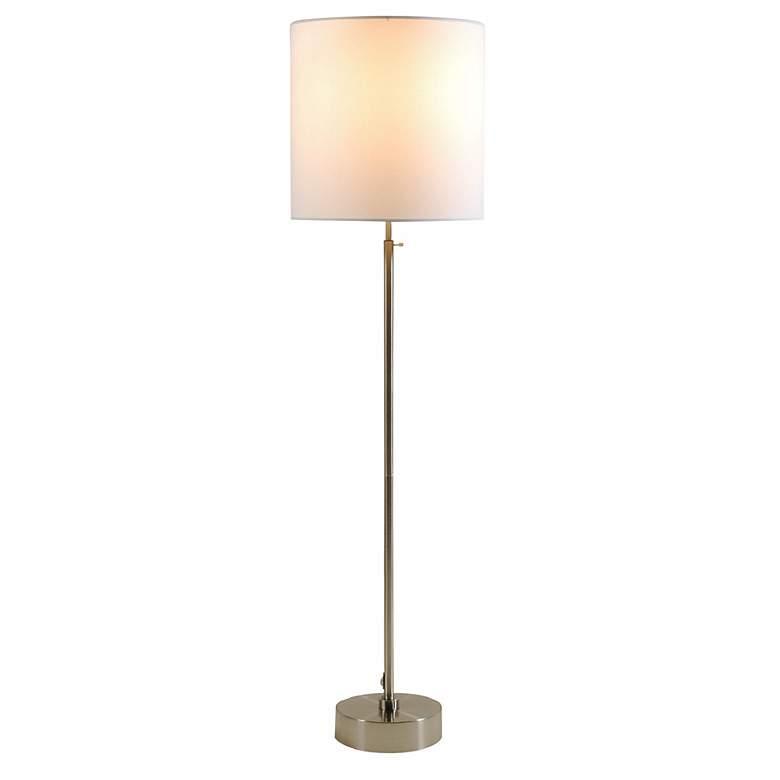 Lights Up!  CanCan 2 Adjustable White Linen Shade Floor Lamp