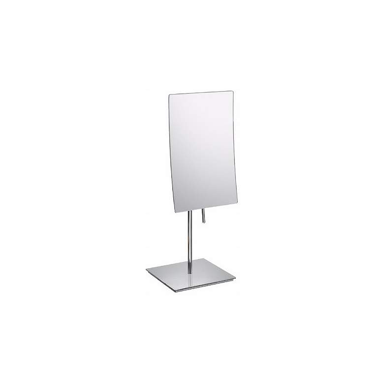 "Aptations Chrome Minimalist Vanity Stand 13 3/4"" High Mirror"