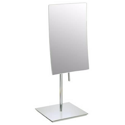 Brushed Nickel Finish Minimalist Vanity Stand Mirror