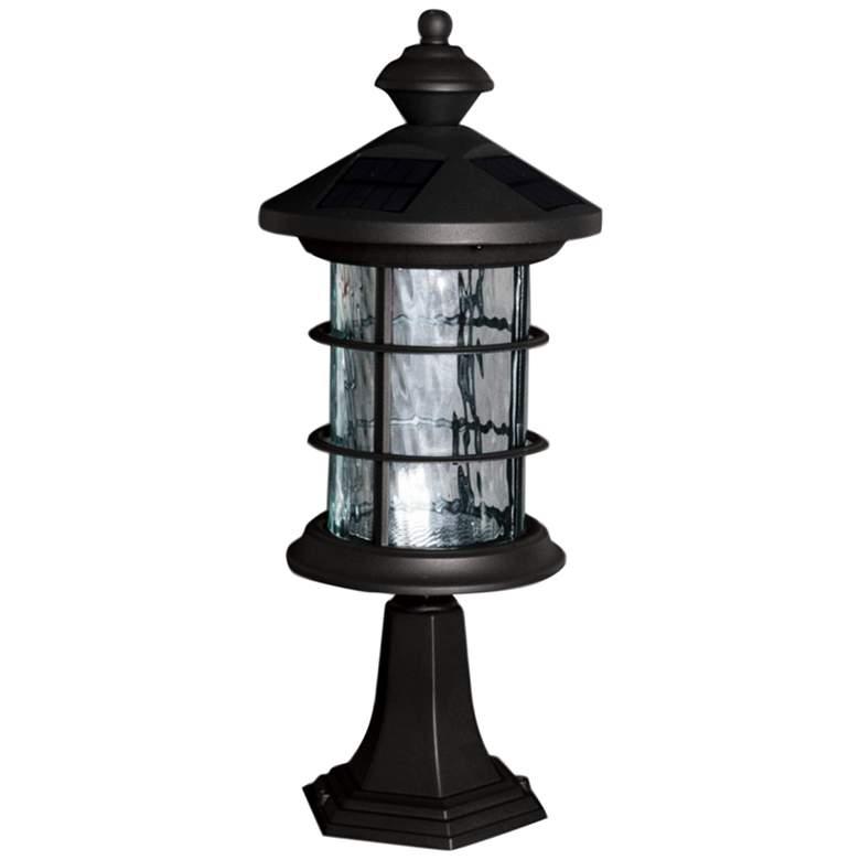 "Hampton 14"" High Black LED Solar Outdoor Post/Wall Light"