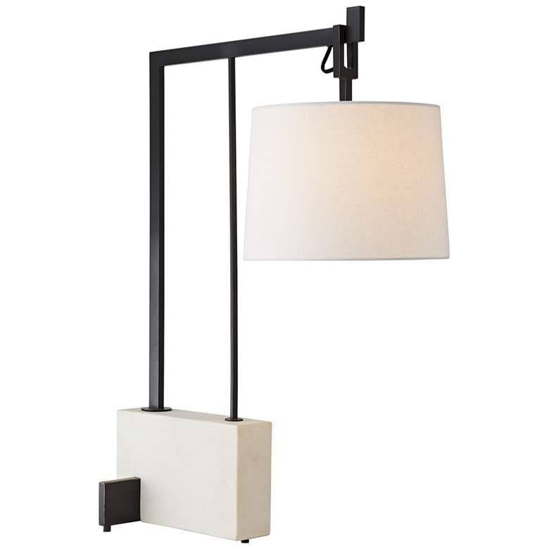 Arteriors Home Piloti Black Metal and Faux Marble Desk Lamp
