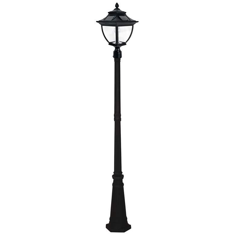 "Pagoda 87"" High Black Solar LED Outdoor Post Light"
