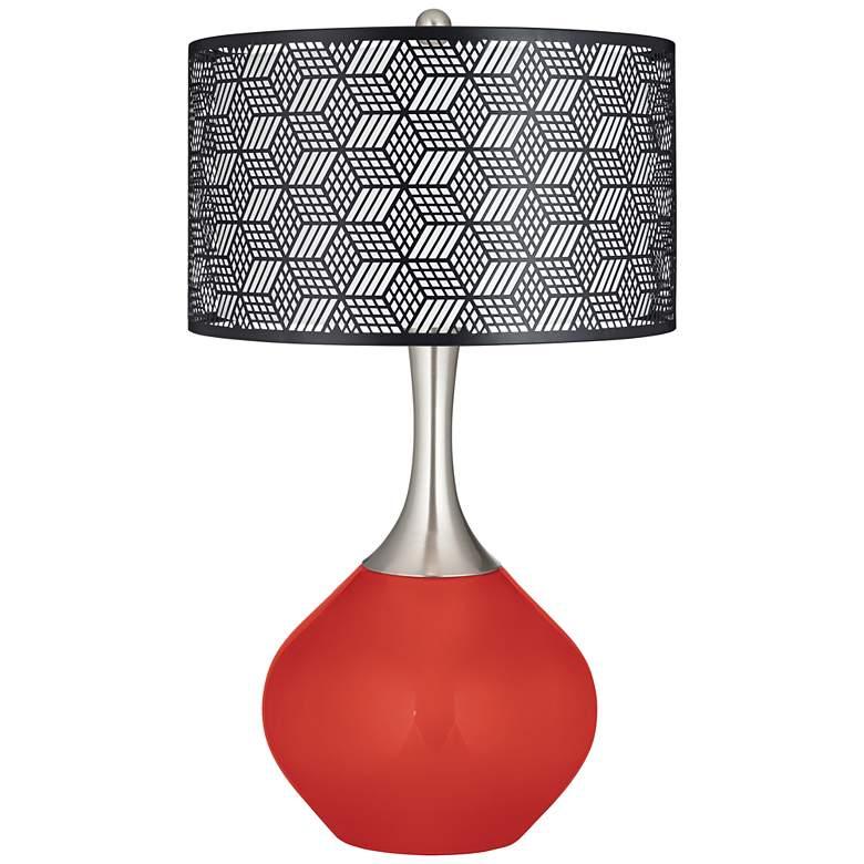 Cherry Tomato Black Metal Shade Spencer Table Lamp