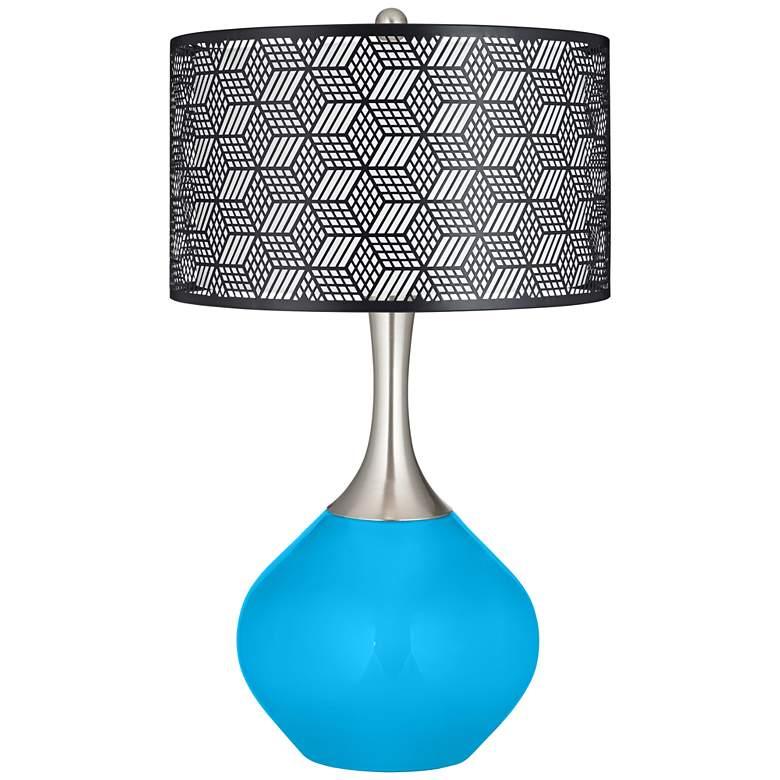 Sky Blue Black Metal Shade Spencer Table Lamp