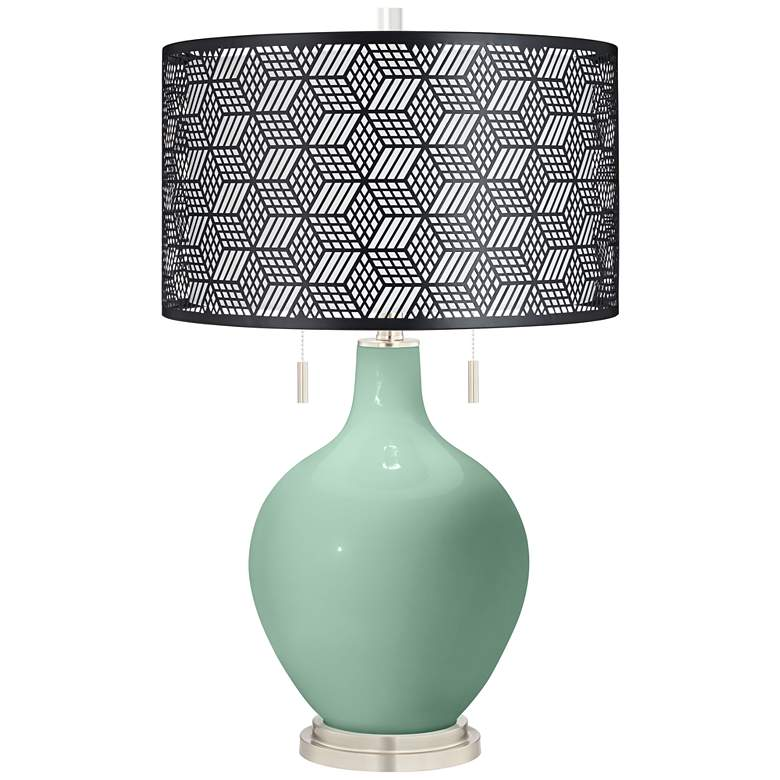 Grayed Jade Toby Table Lamp With Black Metal Shade