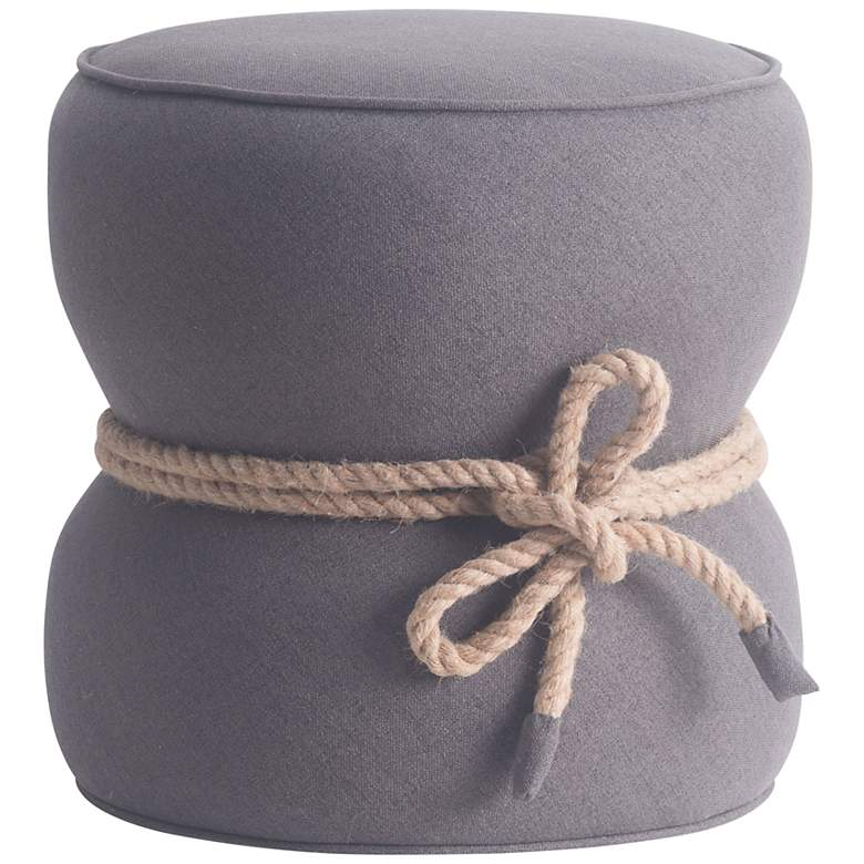 Zuo Tubby Gray Fabric Round Ottoman with Rope Trim