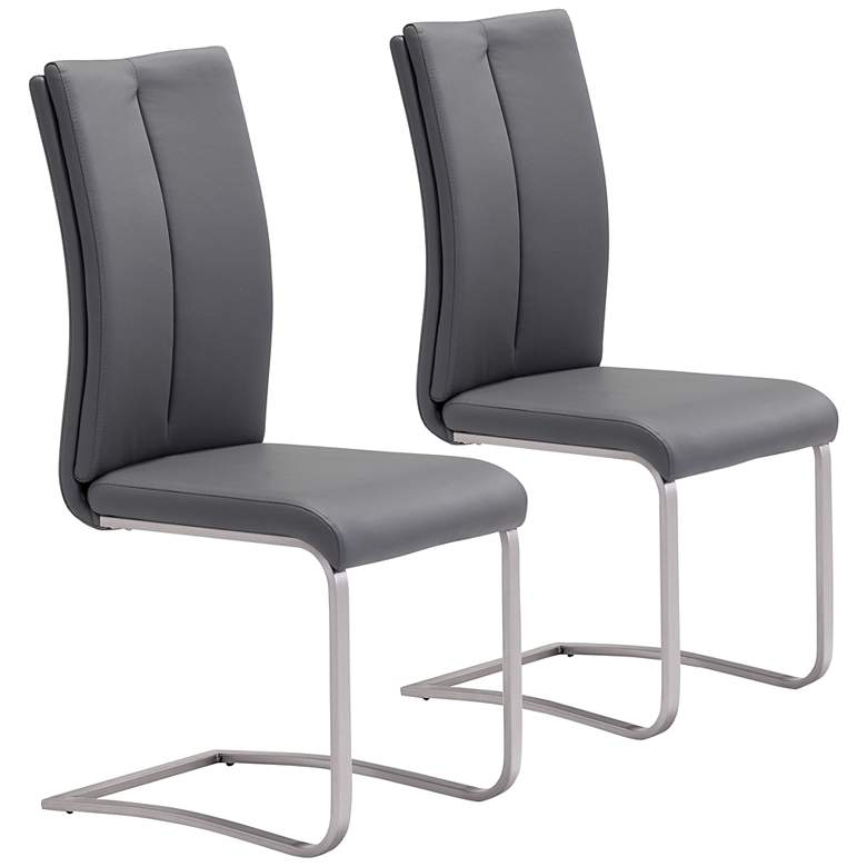 Zuo Rosemont Gray Faux Leather Dining Chairs Set of 2