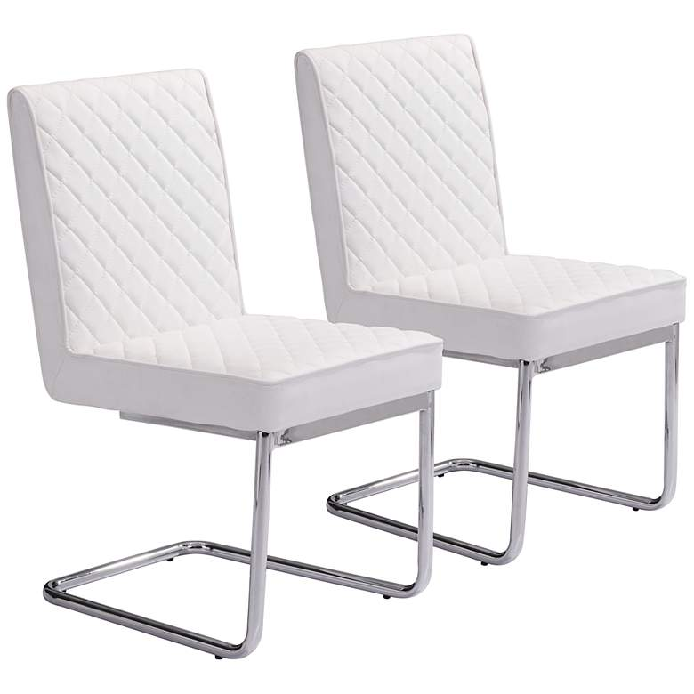 Zuo Quilt White Faux Leather Armless Dining Chairs Set of 2