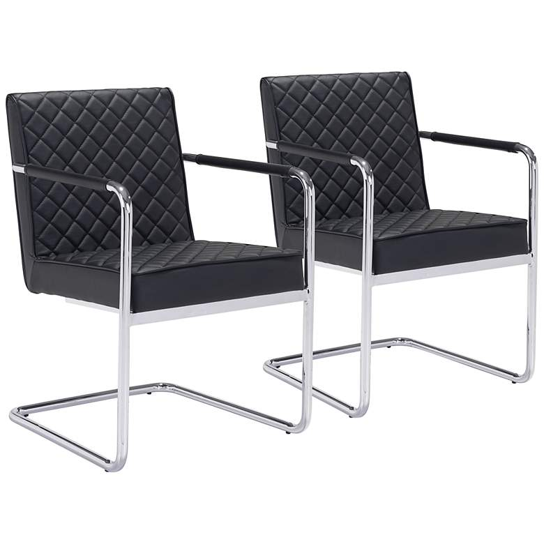 Zuo Quilt Black Faux Leather Dining Chairs Set of 2