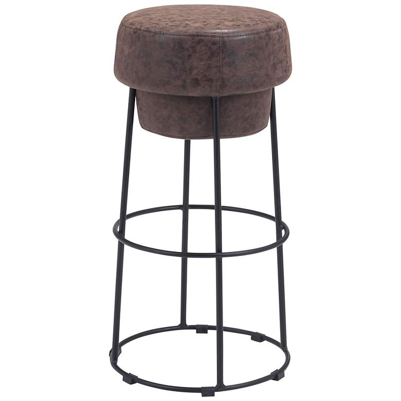 """Zuo Pop 29 1/2"""" Natural Faux Leather Round Bar Stool"""