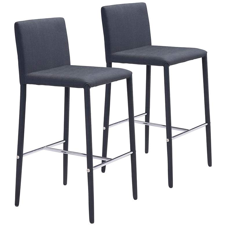 "Zuo Confidence 26"" Black Fabric Counter Stools Set of 2"
