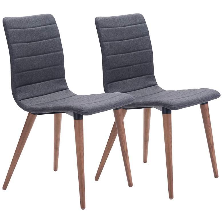 Zuo Jericho Gray Fabric Dining Chairs Set of 2