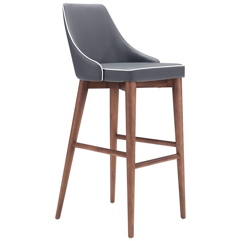 """Zuo Moor 30"""" Dark Gray Faux Leather Wing Back Bar Stool"""