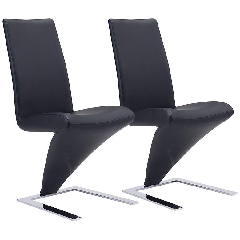 Zuo Herron Black Faux Leather Dining Chairs Set of 2