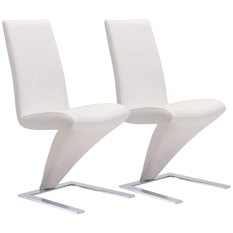 Zuo Herron White Faux Leather Dining Chairs Set of 2