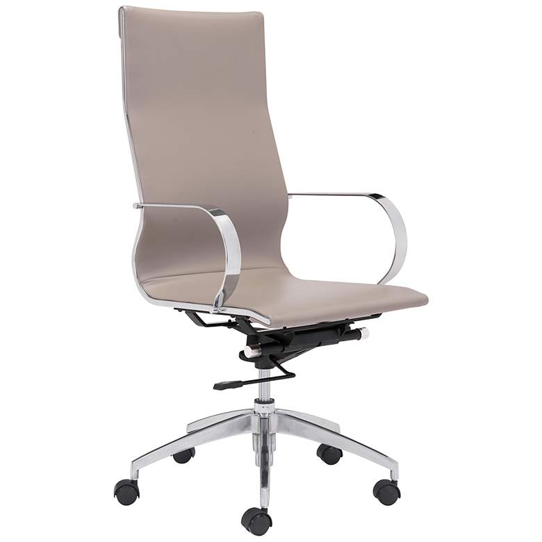 Zuo Glider Taupe Faux Leather High Back Swivel Office Chair