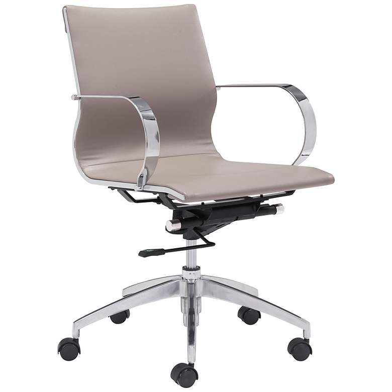 Zuo Glider Taupe Faux Leather Low Back Swivel Office Chair