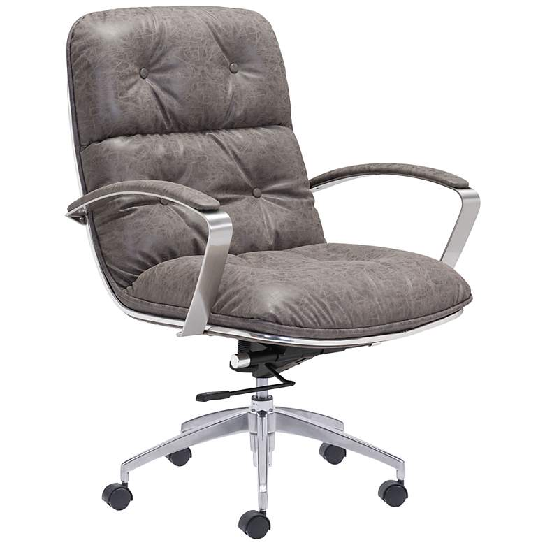 Zuo Avenue Gray Faux Leather Tufted Swivel Office Chair