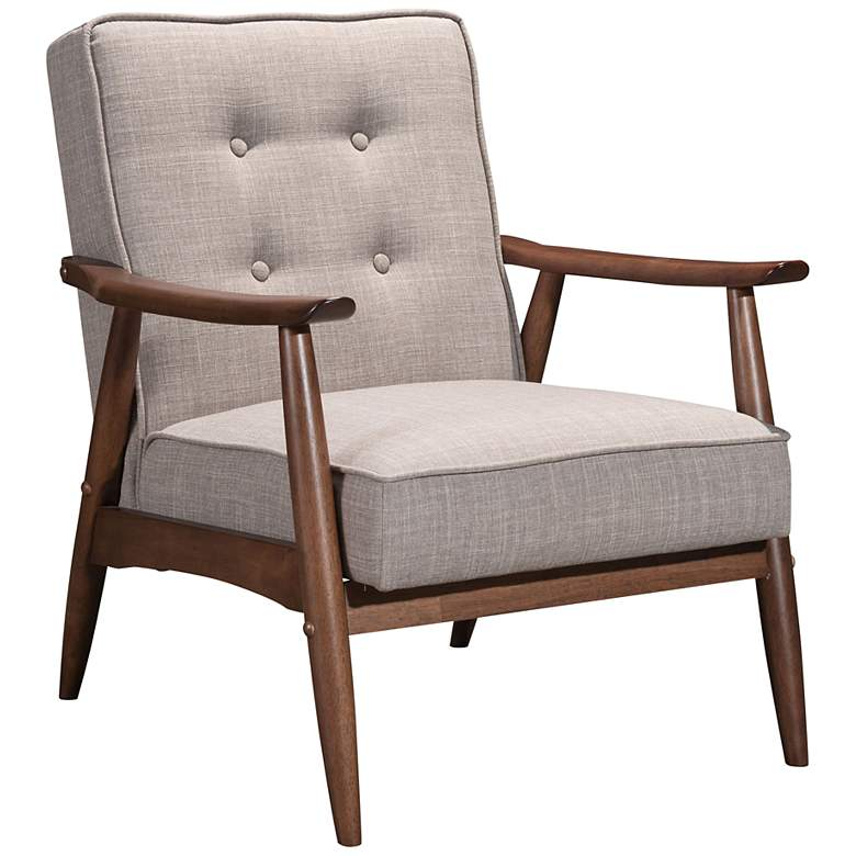 Zuo Rocky Putty Fabric Button Tufted Arm Chair