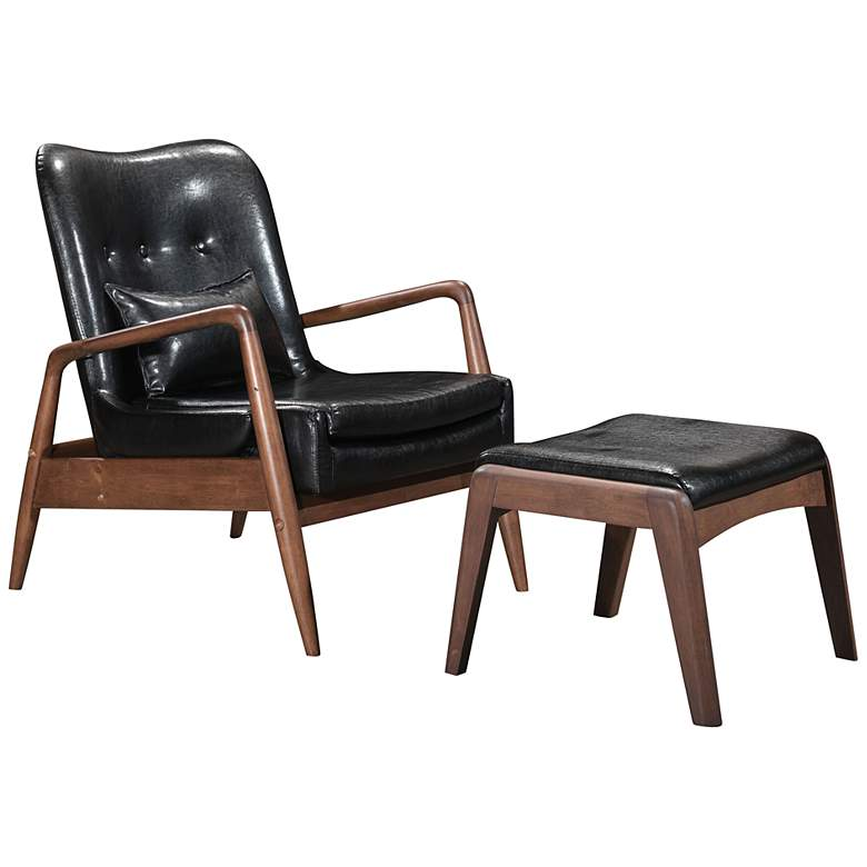 Zuo Bully Black Faux Leather Lounge Chair and Ottoman Set