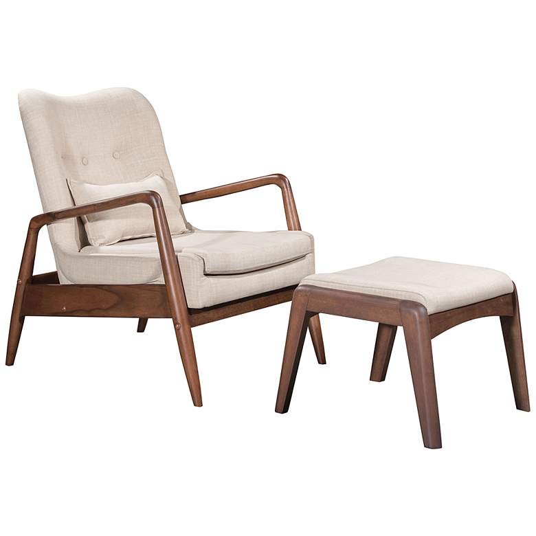 Zuo Bully Beige Fabric Lounge Chair and Ottoman Set