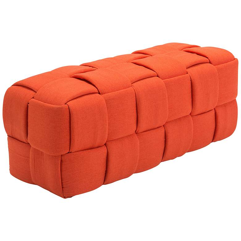 Zuo Checks Orange Fabric Accent Bench