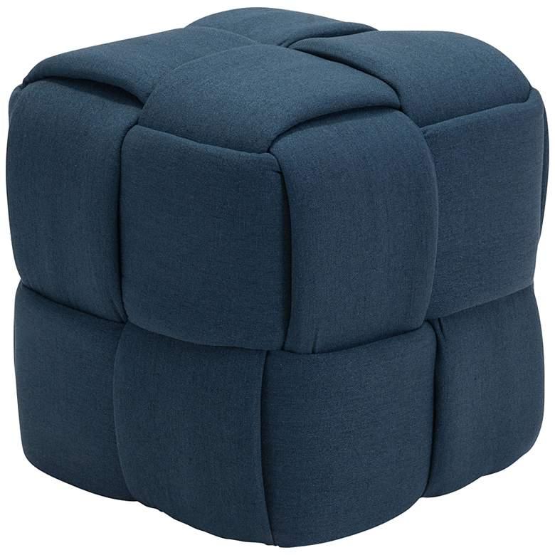 Zuo Checks Navy Blue Fabric Cube Ottoman
