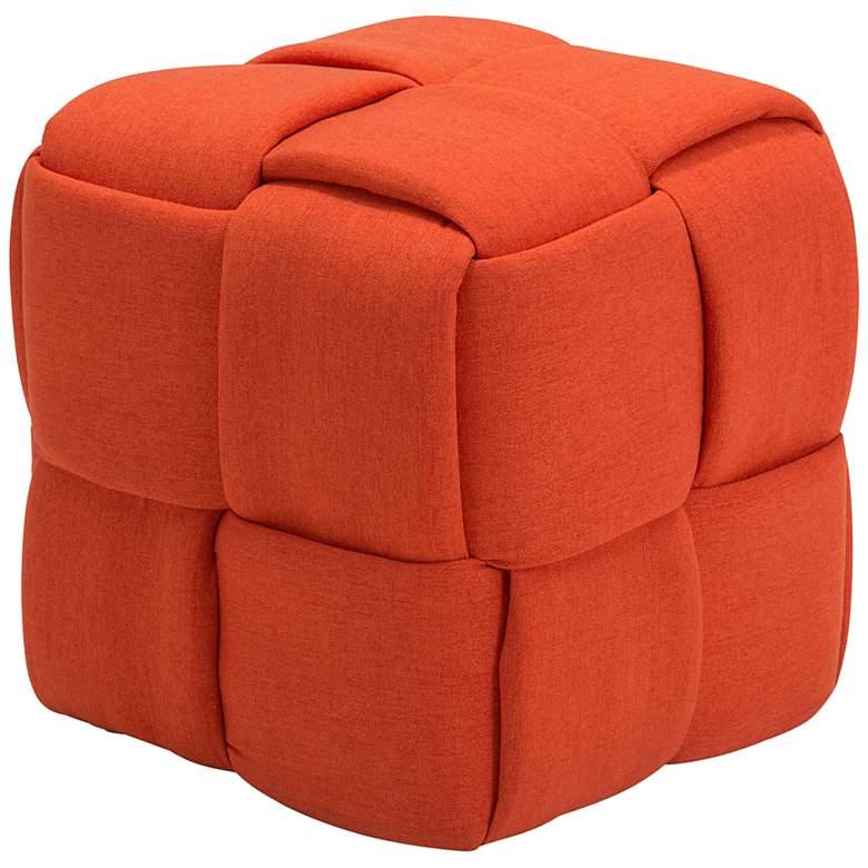 Zuo Checks Orange Fabric Cube Ottoman