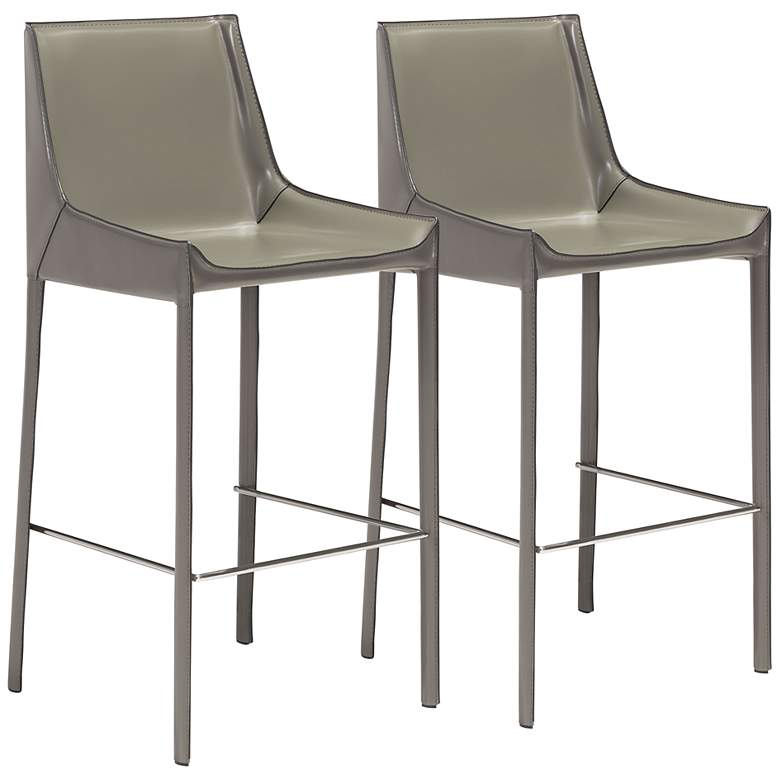 """Zuo Fashion 30"""" Gray Faux Leather Bar Stools Set of 2"""