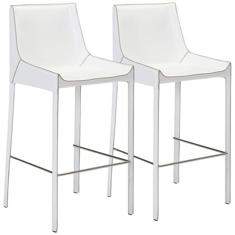 "Zuo Fashion 30"" White Faux Leather Bar Stools Set of 2"