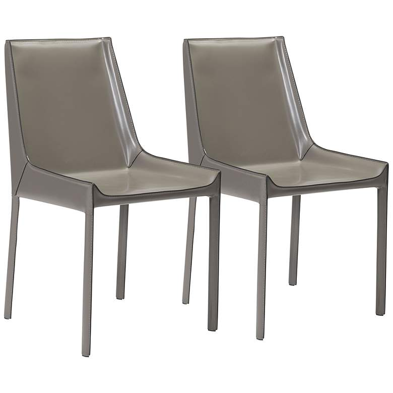 Zuo Fashion Gray Faux Leather Dining Chairs Set of 2
