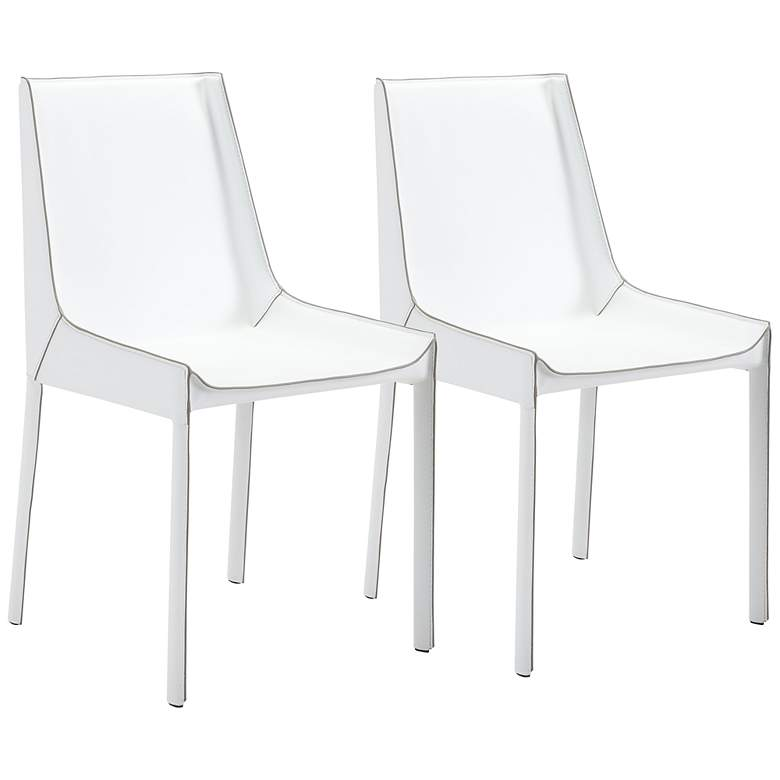 Zuo Fashion White Faux Leather Dining Chairs Set of 2