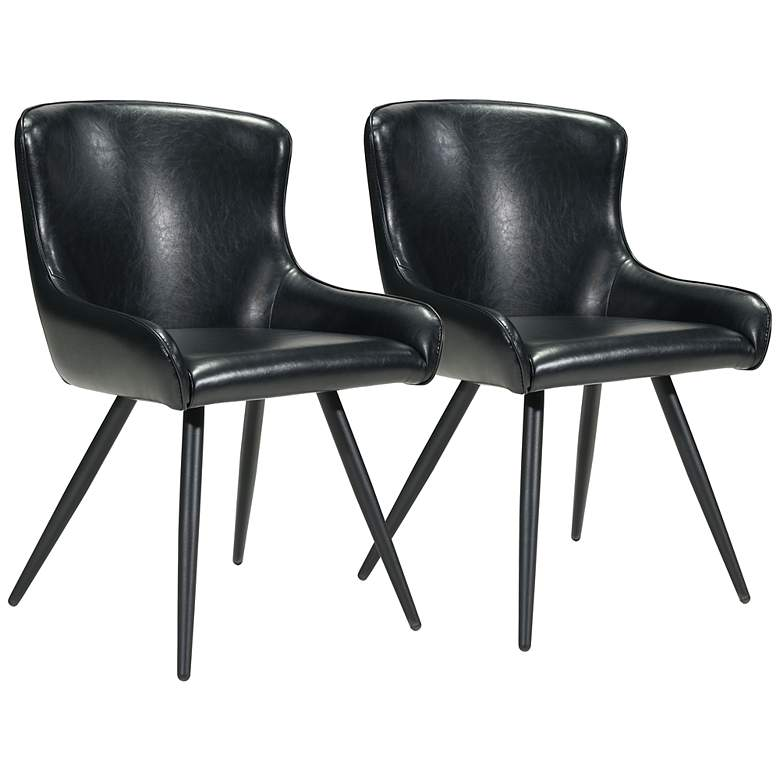 Zuo Dresden Black Faux Leather Dining Chairs Set of 2
