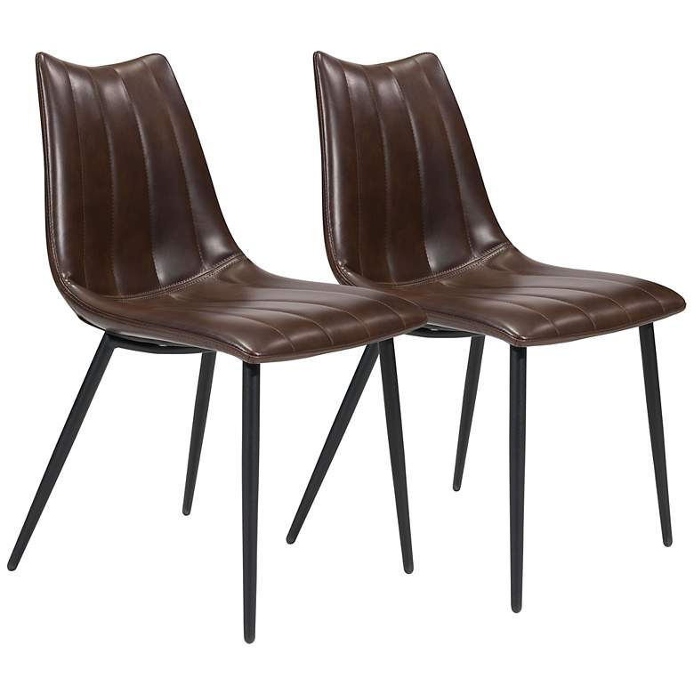 Zuo Norwich Brown Faux Leather Dining Chairs Set of 2