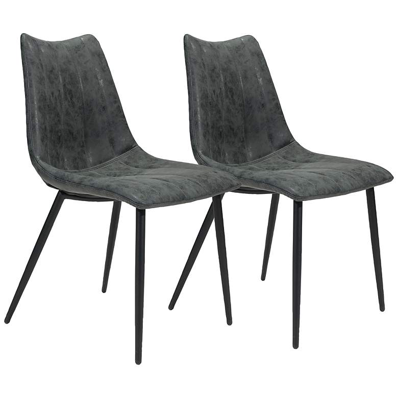 Zuo Norwich Black Faux Leather Dining Chairs Set of 2