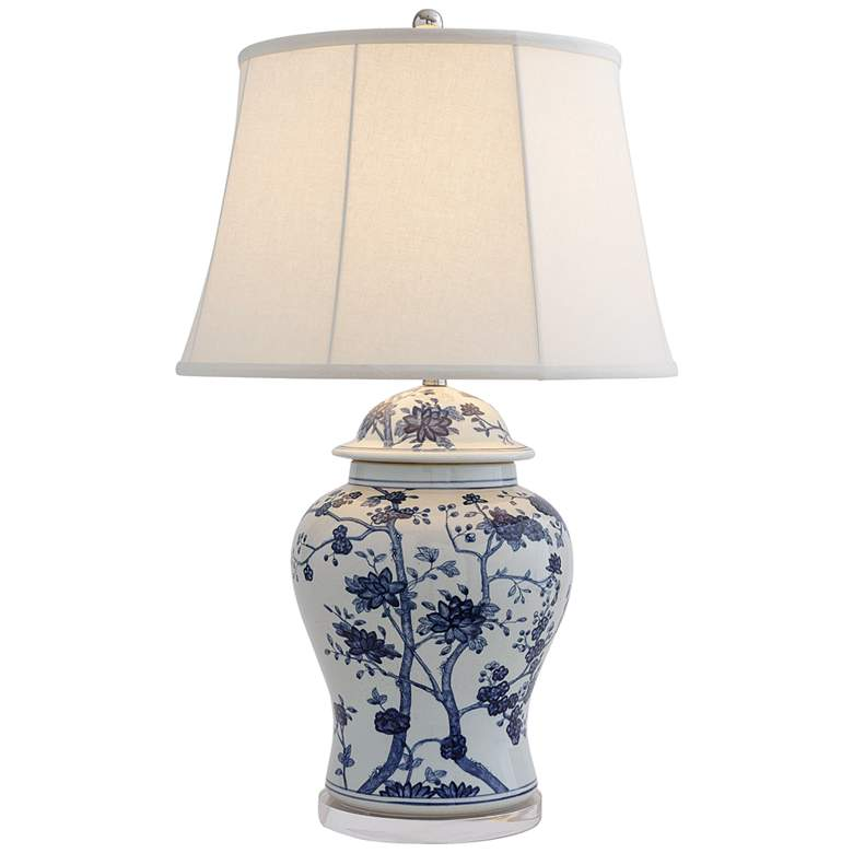 Port 68 Georgia Blue White Porcelain Temple Jar Table Lamp