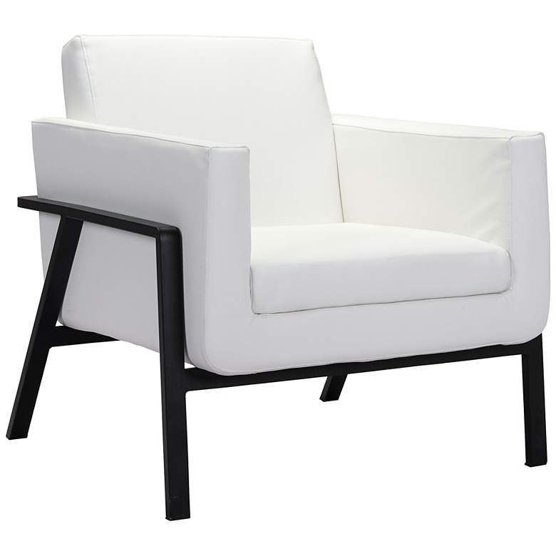 Zuo Homestead White Faux Leather Lounge Chair