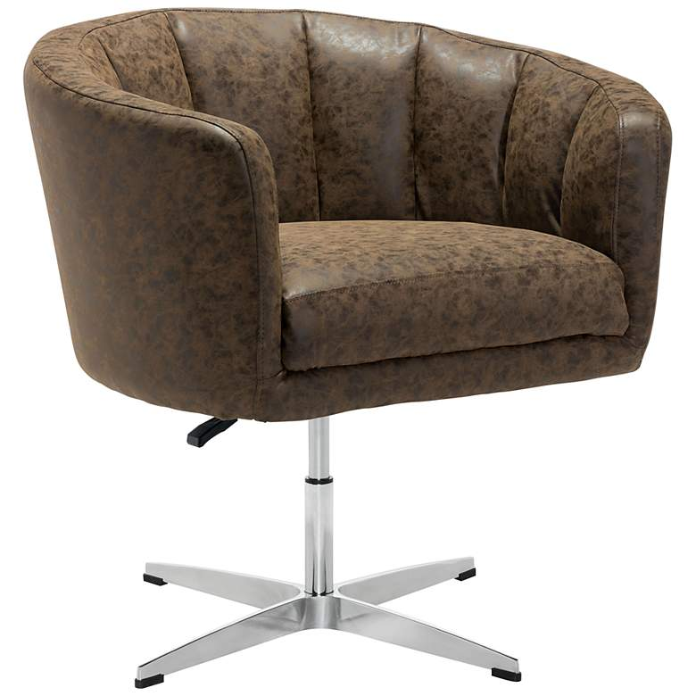 Zuo Wilshire Coffee Faux Leather Swivel Occasional Chair