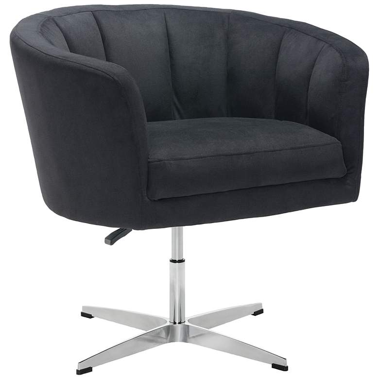 Zuo Wilshire Black Fabric Adjustable Swivel Occasional Chair