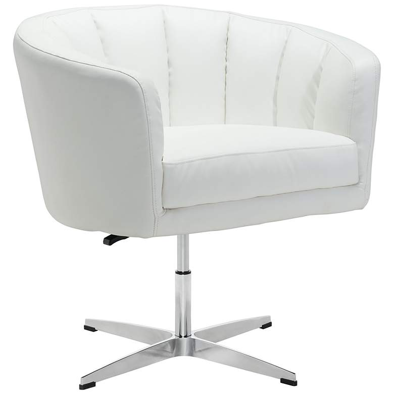 Zuo Wilshire White Faux Leather Swivel Occasional Chair